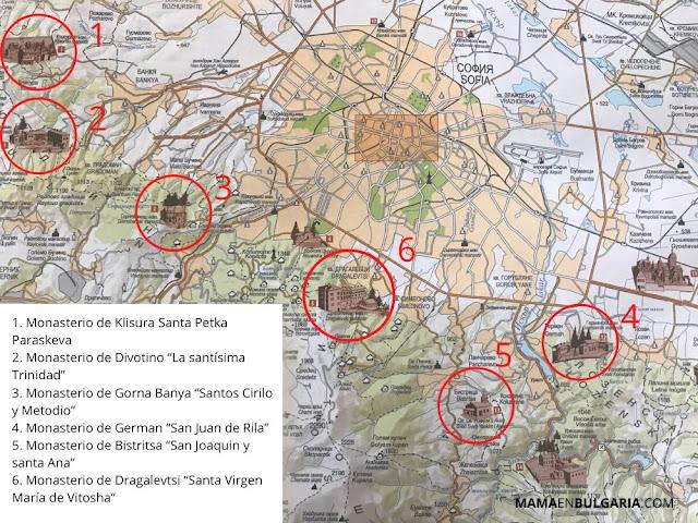 mapa monasterios Sofía