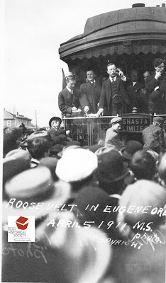 Teddy Roosevelt campaigning in Eugene, Oregon