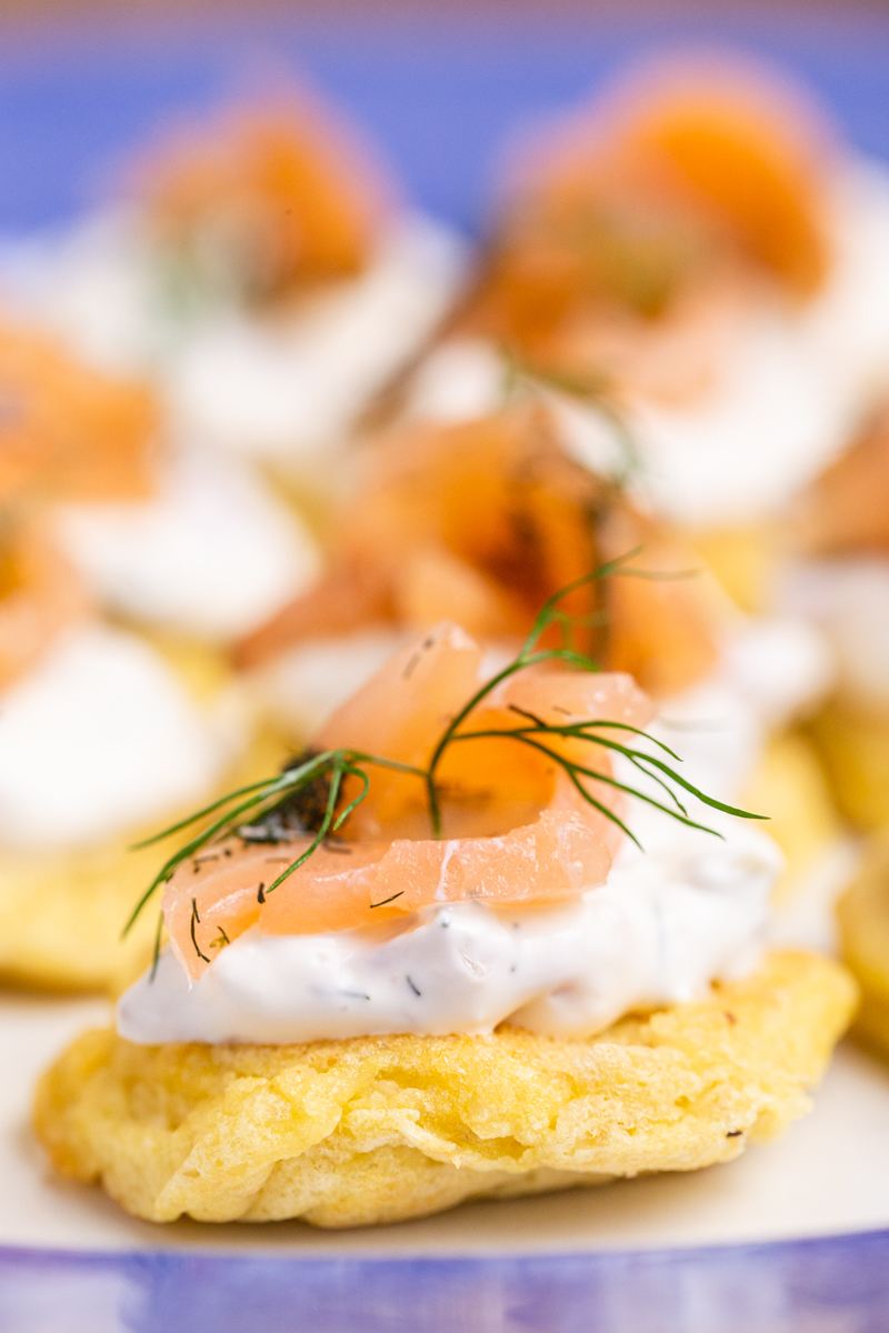 Closeup photo of Keto Blinis with Smoked Salmon Pate.