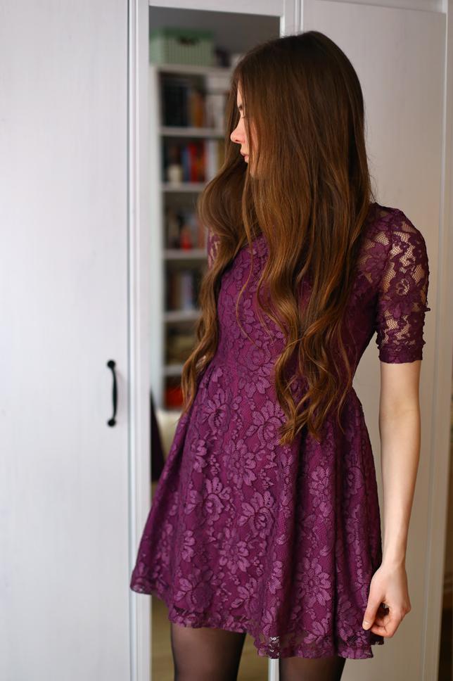 Black tights with purple dress