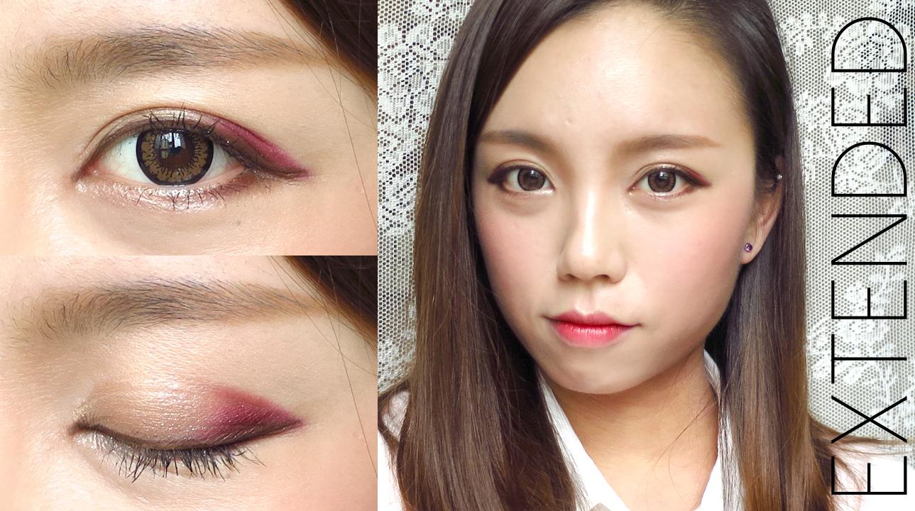 k-pop style: korean ulzzang style burgundy makeup for fall