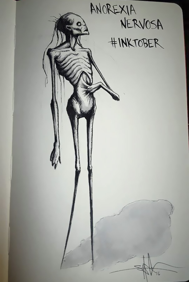 Artist Paints Mental Illnesses And Turns Them Into Realistic Illustrations - Anorexia Nervosa