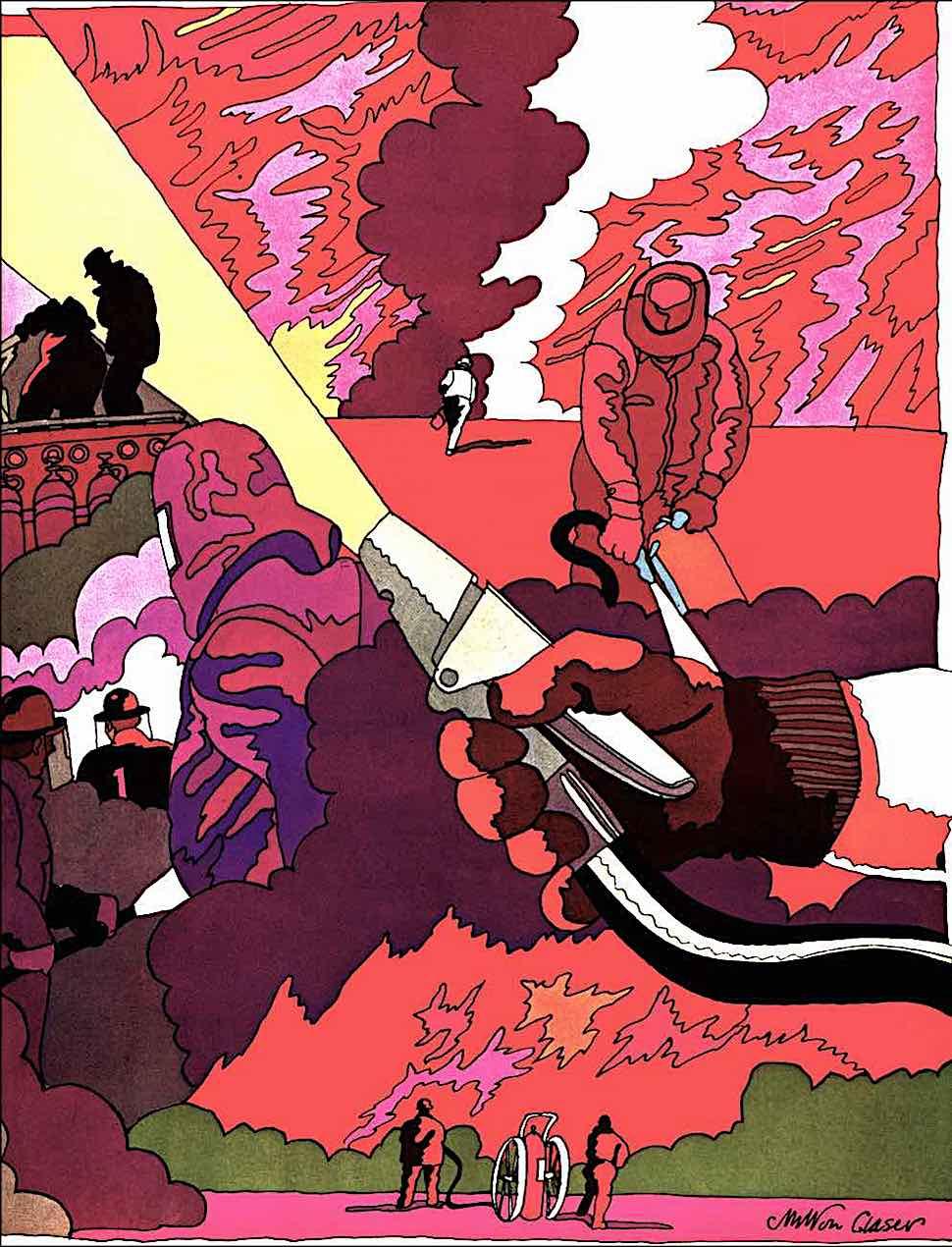 a Milton Glaser illustration of firefighting