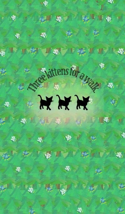 Three kittens for a walk