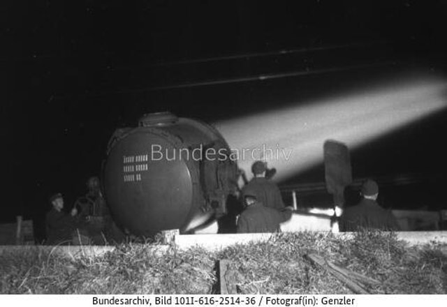 German searchlight in France, May 1942 worldwartwo.filminspector.com