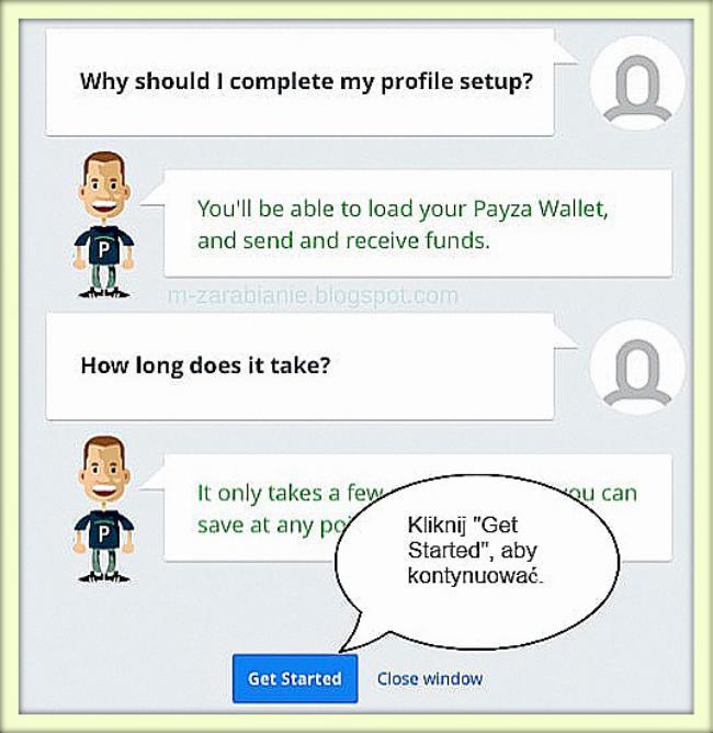 Payza — wypełnienie profilu.