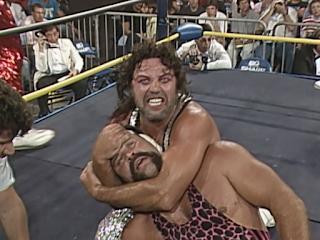 WCW Great American Bash 1990 - Jimmy Jam Garvin puts Ric Steiner to sleep
