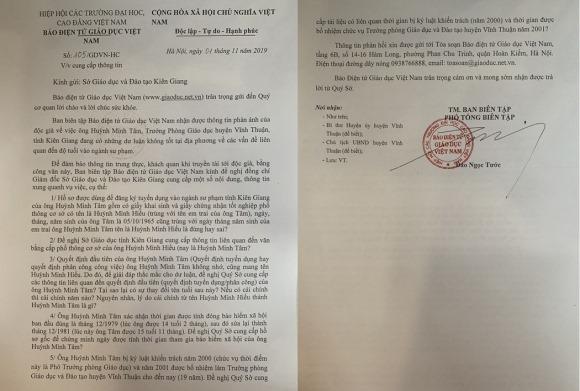 Ông Huỳnh Minh Tâm dùng bằng mang tên em trai leo lên ghế trưởng phòng giáo dục?