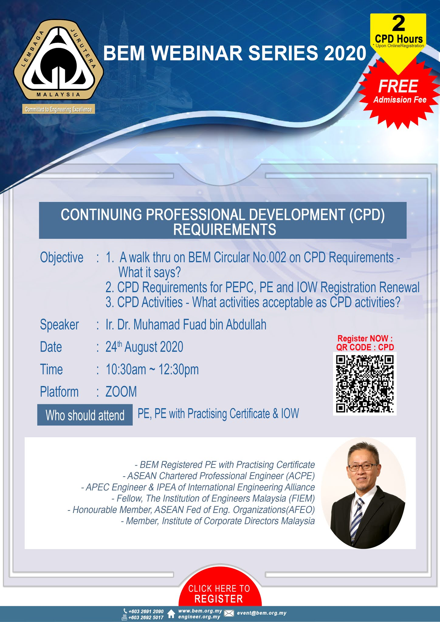 The Institution Of Engineers Malaysia Miri Branch Bem Webinar 2020 Continuing Professional Development Cpd Requirements