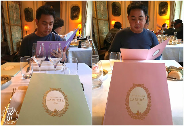 man, goblets, laduree menus