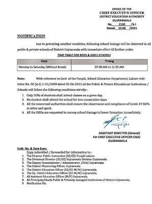 SCHOOLS TIMINGS IN GUJRANWALA IN JUNE 2021