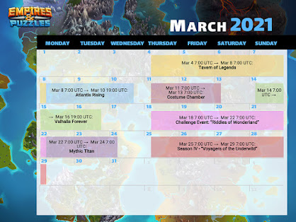March 2021 Empires & Puzzles Graphic Calendar