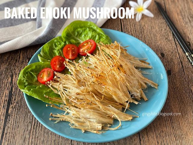 Crunchy Baked Enoki Mushroom