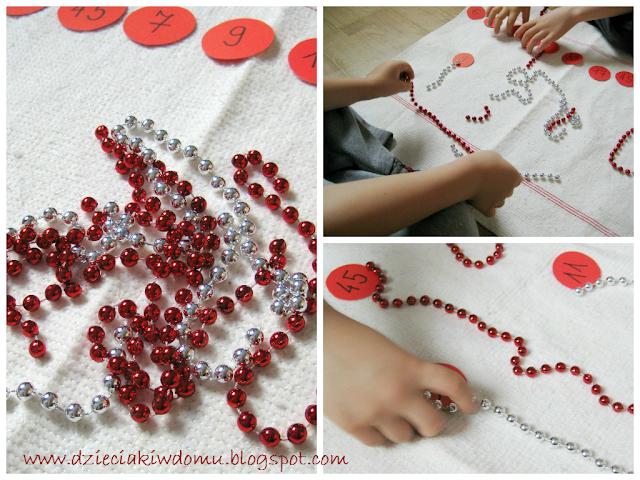 przeliczanie koralików przy pomocy łańcucha choinkowego matematyka dla przedszkolaka