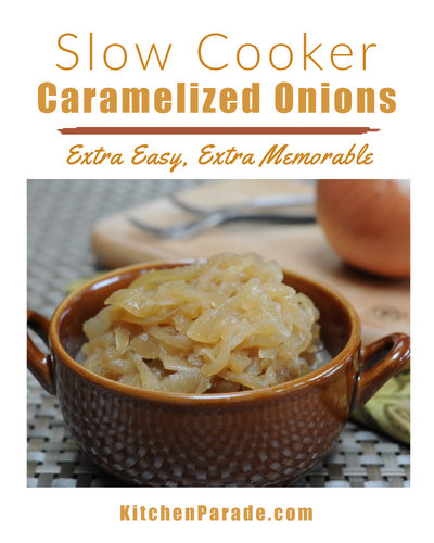 Slow Cooker Caramelized Onions ♥ KitchenParade.com, memorable caramelized onions, extra-special with a little brown sugar and dry sherry, extra-easy in the slow cooker.