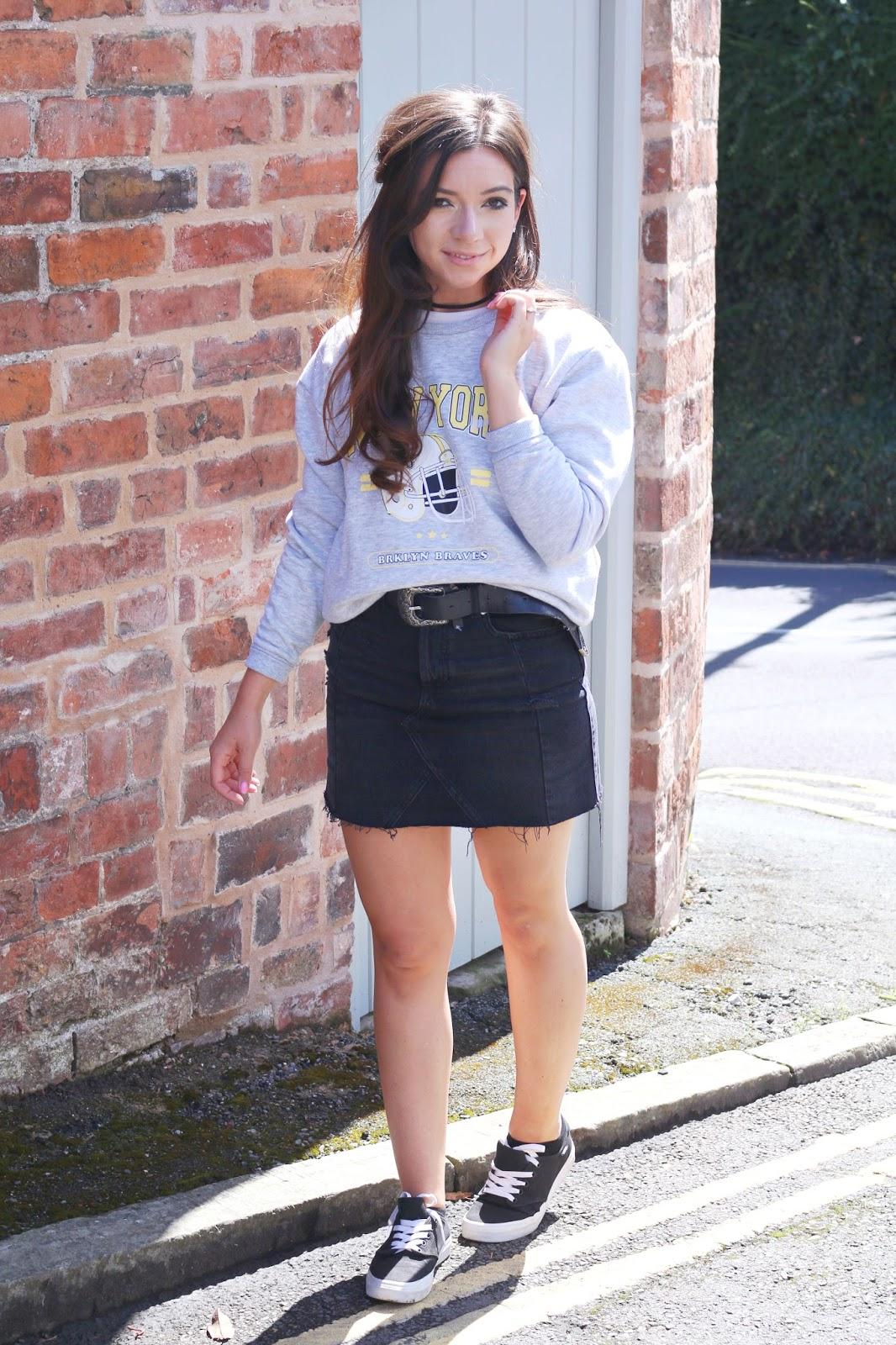 three ways to style a denim skirt  dizzybrunette