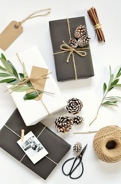 black and white christmas present wrapping