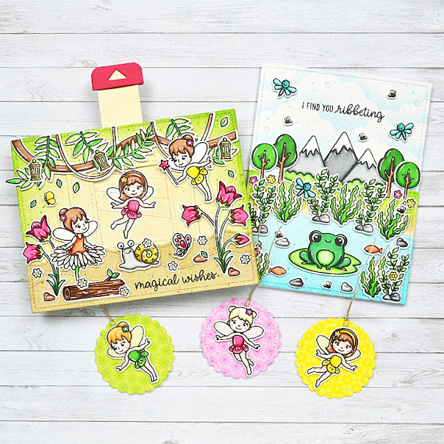 Sunny Studio Stamps: Garden Fairy & Feeling Froggy Cards and Gift Tags with Guest Designer Marine Simon