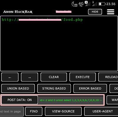 SQL Injection POST DATA - Anon HackBar