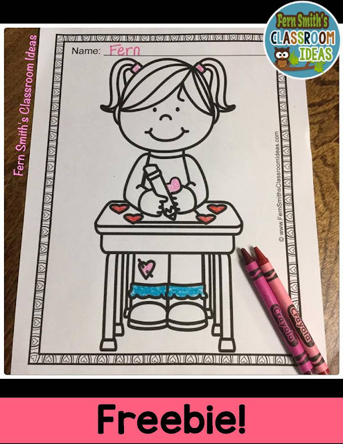 Fern Smith's Classroom Ideas FREE Coloring Page For St. Valentine's Day Fun At School for Classroom Freebies at TeacherspayTeachers.