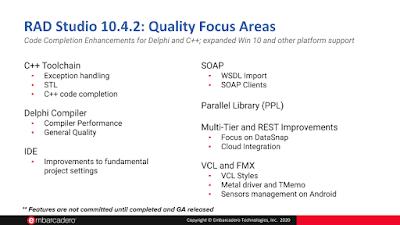 RAD Studio, Delphi и C++Builder roadmap на 2020/2021 - 10.4.2 quality