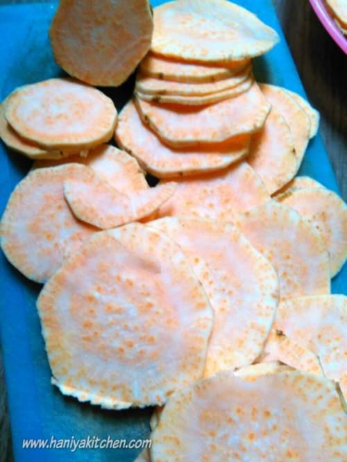 resep ubi jalar panggang (baked sweet potato cips)