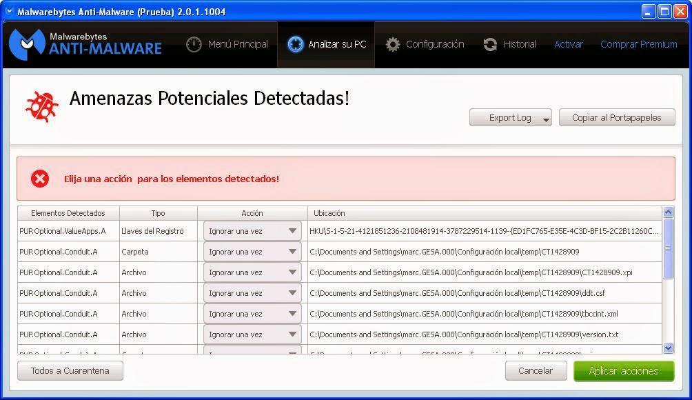 Amenazas detectadas Malwarebytes
