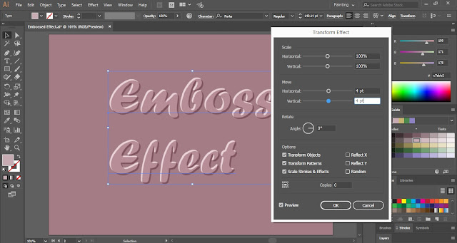 Embossed Text Effect in Adobe Illustrator