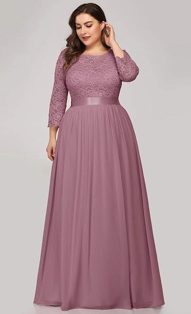 Pink Purple Plus Size Chiffon Bridesmaid Dresses