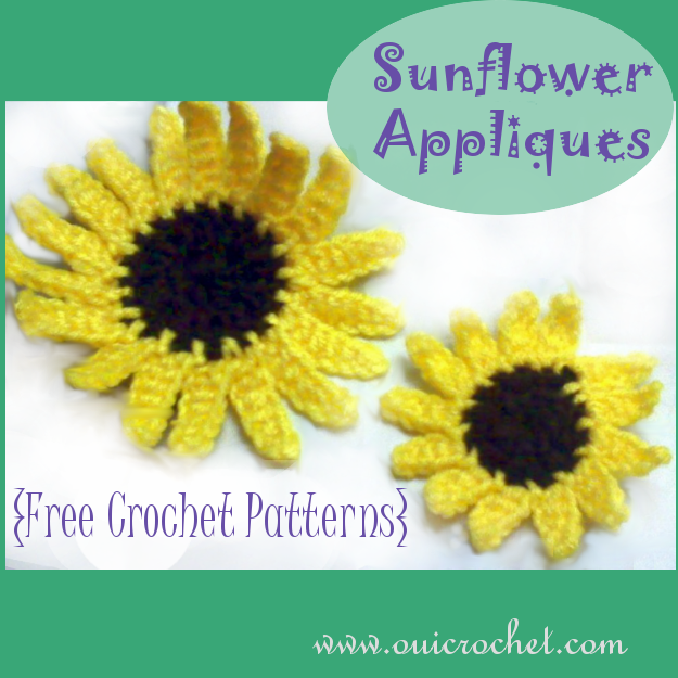Crochet, Free Crochet Pattern, Crochet Sunflower Applique Pattern, Sunflower Applique