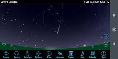 comet below Dubhe on mobile phone app