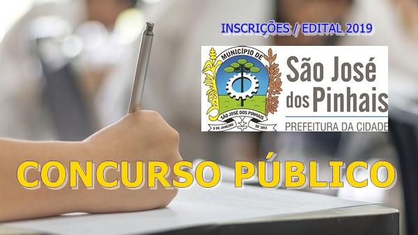 concurso Prefeitura de São José dos Pinhais edital 2019