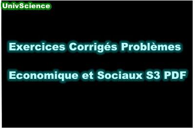 Exercices Corrigés Problèmes Economique et Sociaux S3 PDF.