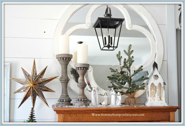 Cottage -Farmhouse -Christmas -Foyer-French-Country-Manger-Vignette-Pottery Barn-Tree-Topper-Carriage-House-Lighting-From My Front Porch To Yours