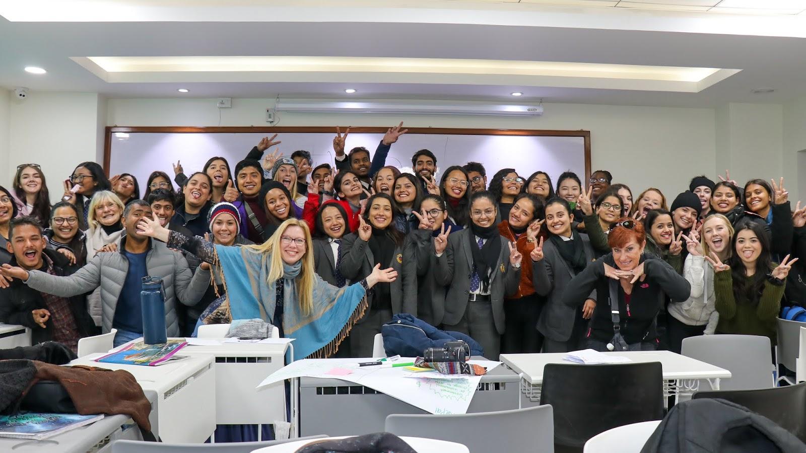 The SDSU cohort visits a Nepali classroom.