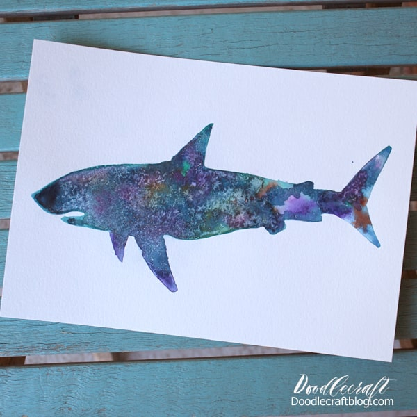 Galaxy Painted Shark Silhouette with Watercolors DIY
