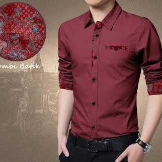 Kemeja Batik Pria Simple Moderen, Warna Maroon Bj0029