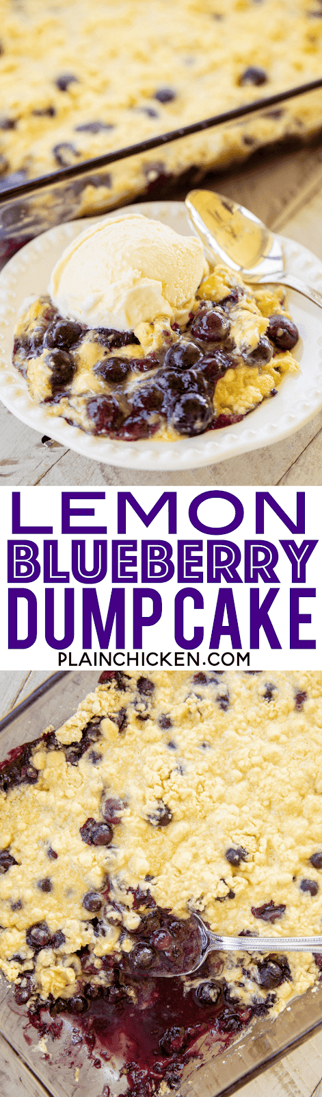 Lemon Blueberry Dump Cake - so easy and SOOOO delicious! Blueberries, sugar, lemon zest, lemon cake mix and butter. Just dump everything in the pan and throw it in the oven. No mixing, no extra dirty dishes, no spoons, just one pan. Great for potlucks and cookouts. Serve warm with vanilla ice cream. There are NEVER any leftovers! SO good! #dessert #blueberries #lemon #cake