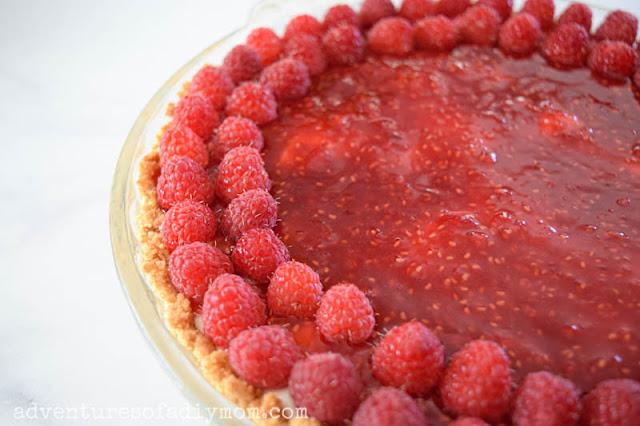 add fresh raspberries to top of pie