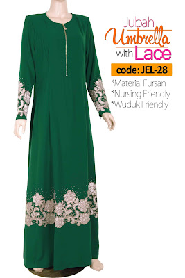 Jubah Umbrella Lace JEL-28 Green Depan 5