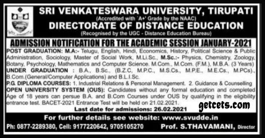 SVU distance education notification 2021, dde degree/ug pg admission