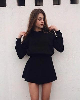 outfit negro tumblr con minifalda