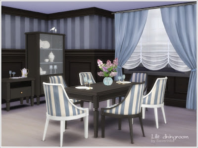 """Lilit diningroom Столовая """"Лилит"""" для The Sims 4 Набор мебели и декора для столовой в классическом стиле. 4 разных цвета дерева, ткани в мягких сиреневых и бежевых тонах. В комплект входят 9 предметов: - Шкаф с посудой (4 цвета) - Небольшой шкаф с функцией комода (4 цвета) - Обеденный стол (4 цвета) - Стул обеденный (10 цветов) - Шторы (4 цвета) - Австрийские шторы (3 цвета) - Сирень в керамической вазе - сирень в стеклянной вазе - Посуда Автор: Severinka_"""