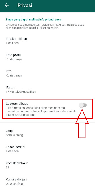 Cara Mematikan Laporan Dibaca atau Centang Biru pada Chat Whatsapp