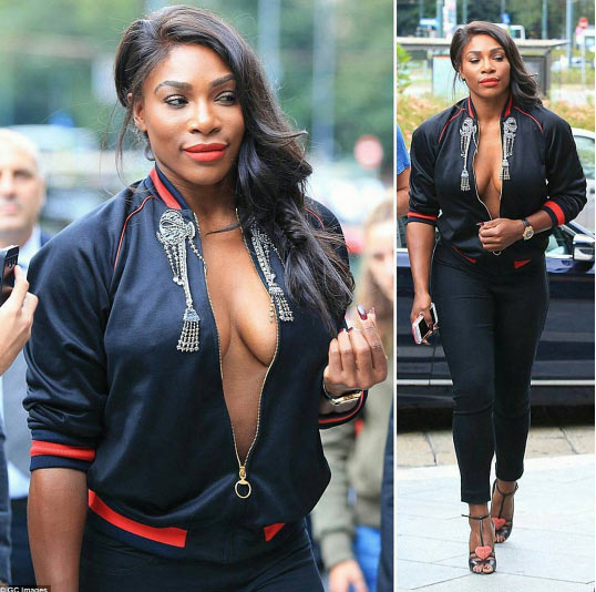 Serena Williams shows major cleavage at Milan Fashion Week