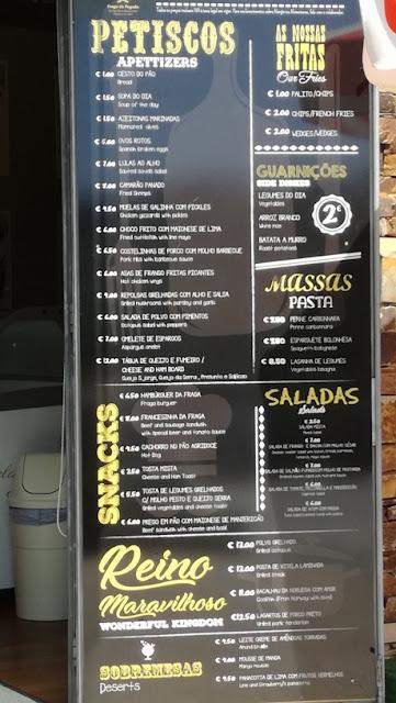 Tabela de preços do bar restaurante