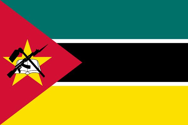 Logo Gambar Bendera Negara Mozambik PNG JPG ukuran 600 px