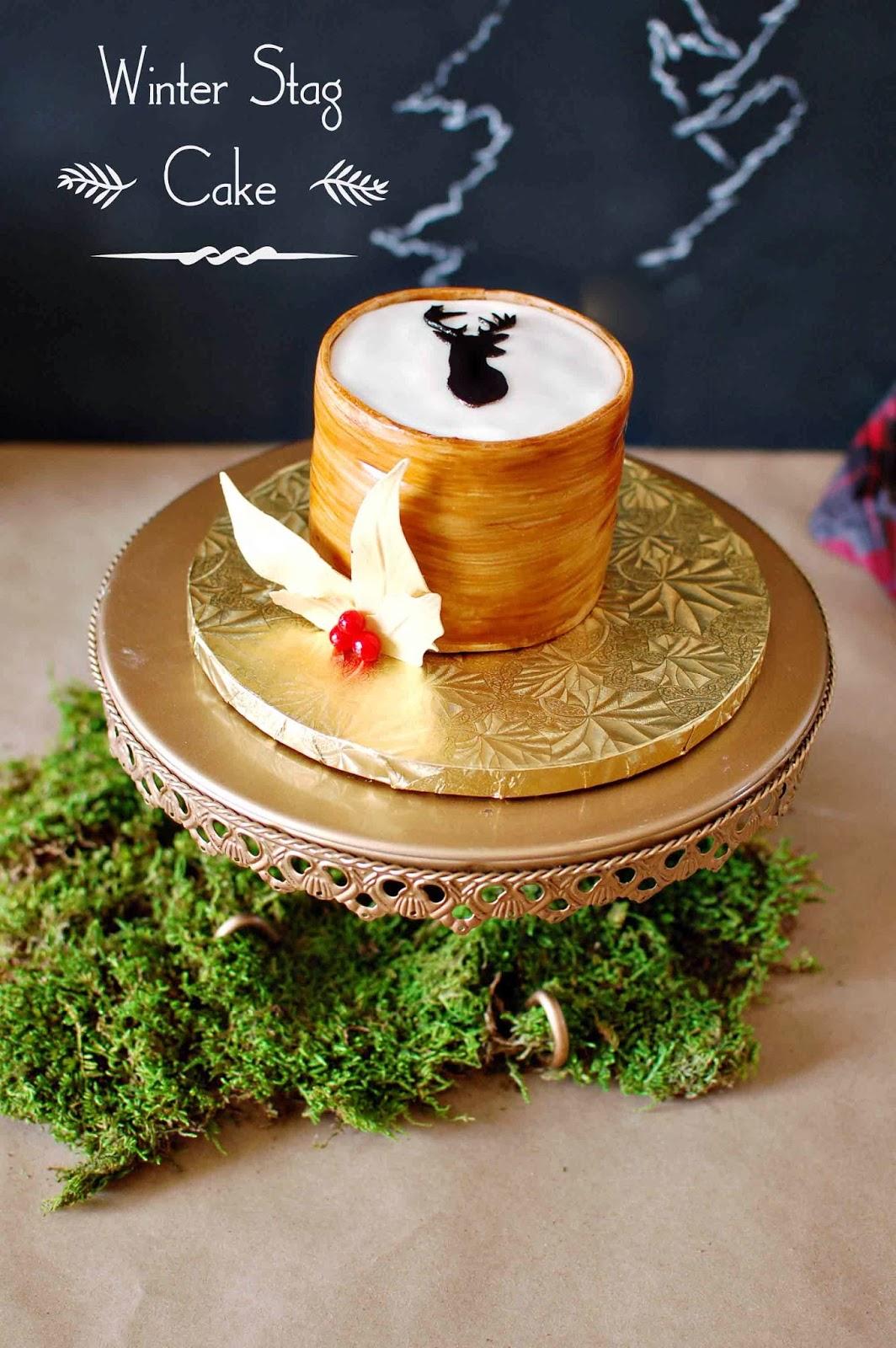 CAKE HAPPENS: Christmas White Aspen Cake & Wood Grain Stag