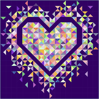 Exploding Heart quilt with True Colors fabric by Tula Pink