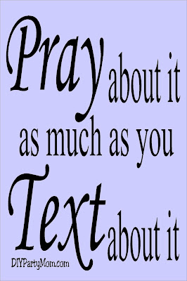 "Teach your kids to ""Pray about it as much as you Text about it"" with this prayer lesson enhancer.  This printable tag is perfect for your next lesson on prayer. #prayerlesson #prayerhandout #prayertag #diypartymomblog"